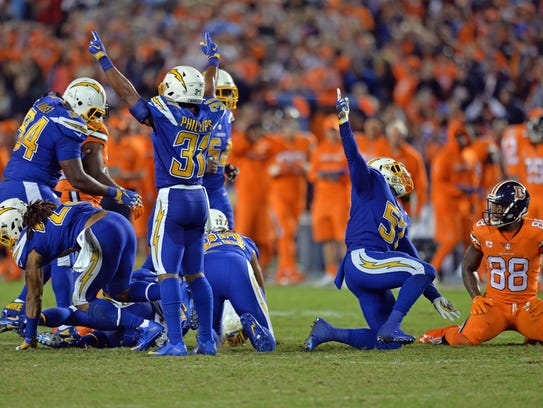 Oct 13, 2016; San Diego, CA, USA; The San Diego Chargers