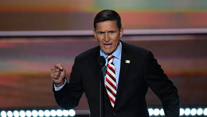 Retired general Michael Flynn addresses delegates on the first day of the Republican National Convention on July 18, 2016, at Quicken Loans Arena in Cleveland.
