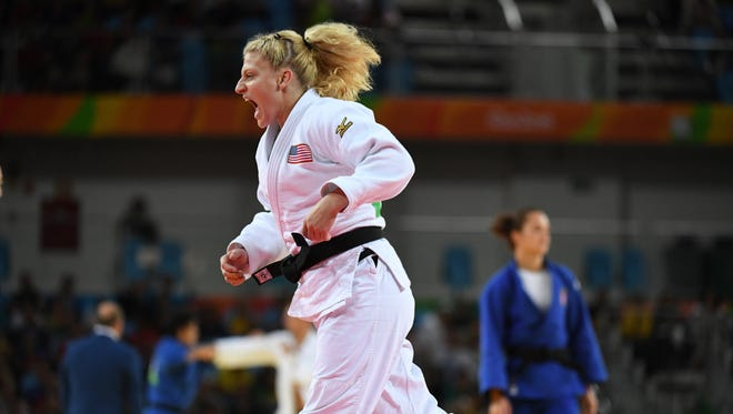 Kayla Harrison (USA, white) competes in a women's 78-kilogram quarterfinal judo contest at Carioca Arena 2 during the Rio 2016 Summer Olympic Games on Aug. 11.