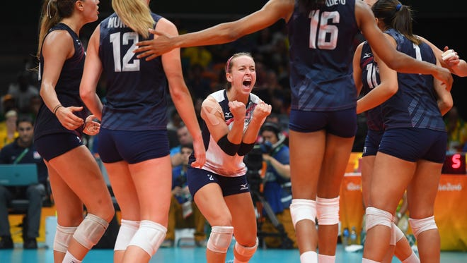 United States libero Kayla Banwarth (2) reacts Sunday, Aug. 14 after a point against China in a preliminary round Group B volleyball match at Maracanazinho during the Rio 2016 Summer Olympic Games in Rio de Janeiro.
