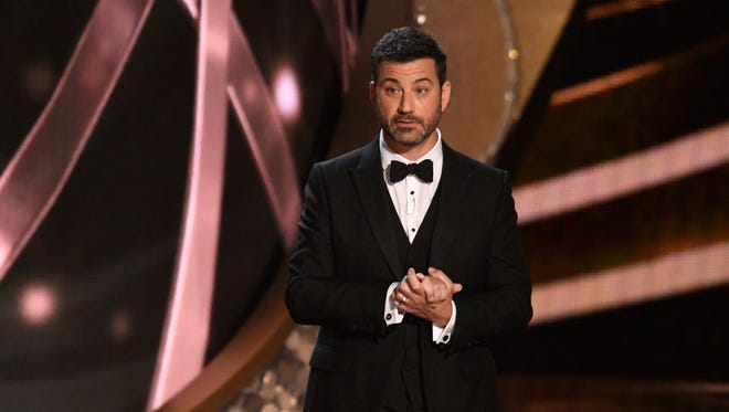 Jimmy Kimmel delivers the opening monologue during 68th Emmy Awards at the Microsoft Theater.