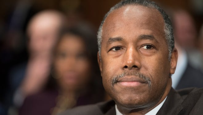 Retired neurosurgeon Ben Carson, nominee for Housing and Urban Development, during confirmation hearing before the Senate Banking, Housing and Urban Affairs Committee Jan. 12, 2016.