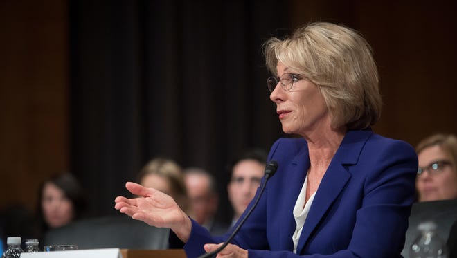 Betsy DeVos, nominee for secretary of education, speaks during a confirmation hearing before the Senate Health, Education, Labor and Pensions Committee.