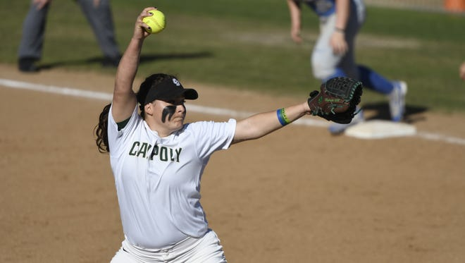 Cal Poly's Sierra Hyland, a former El Diamante standout, pitches in a game earlier this season. Hyland was named the Big West Conference Pitcher of the Week on Monday.