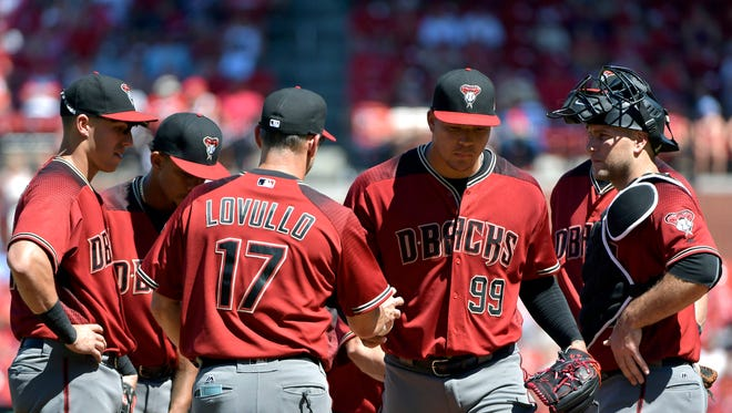 Arizona Diamondbacks starting pitcher Taijuan Walker (99) is removed from the game by manager Torey Lovullo (17) during the sixth inning against the St. Louis Cardinals at Busch Stadium.
