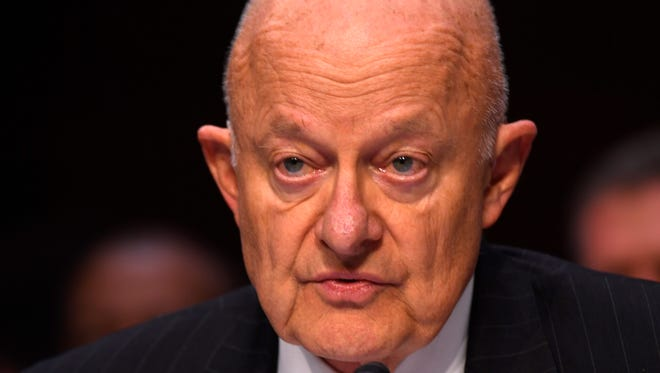 Former National Intelligence Director James Clapper testifies on Capitol Hill before the Senate Judiciary subcommittee on Crime and Terrorism in Washington, Monday, May 8, 2017.