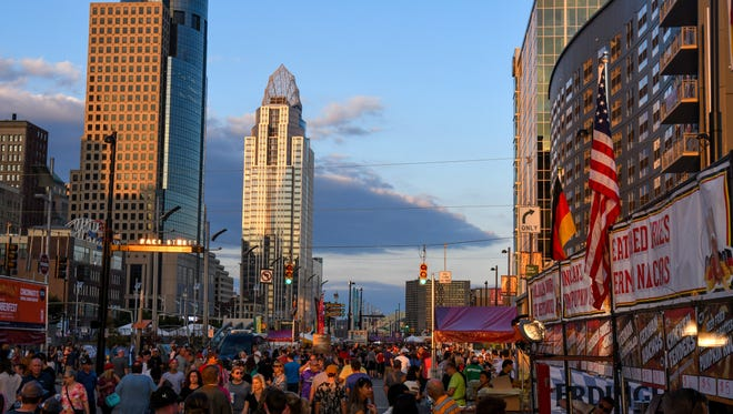 Thousands attend the first night of Oktoberfest Zinzinnati Friday, Sept. 15, 2017 in Downtown. Zinzinnati is the second largest Oktoberfest in the world, behind only Munich, Germany.