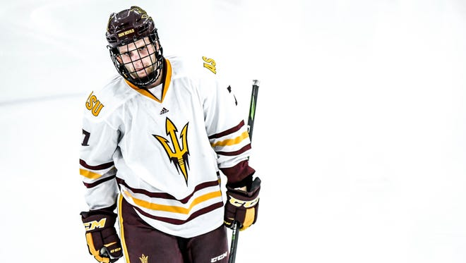ASU freshman forward Johnny Walker is from Phoenix and will start the 2017-18 season playing on the Sun Devils' first line.