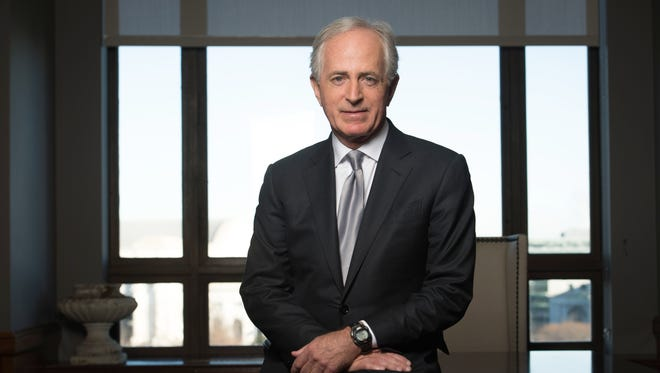 Sen. Bob Corker stands in his Dirksen Senate Office Building office in Washington, D.C.