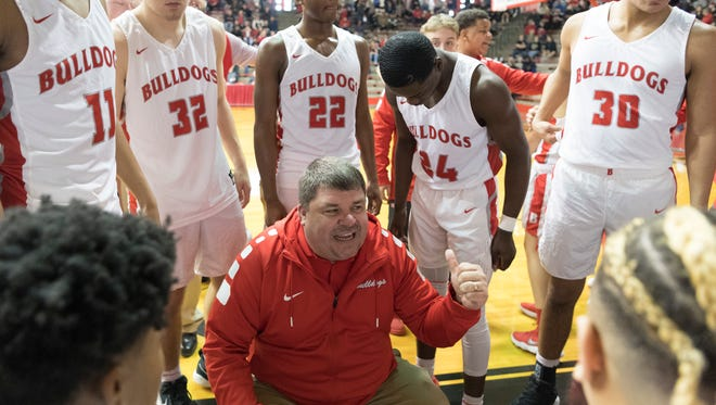 Bosse coach Shane Burkhart directs his team in the regional last year. The Bulldogs will host the seventh annual Bosse Winter Classic on December 15.