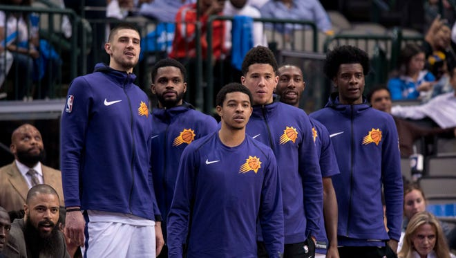 Apr 10, 2018: The Phoenix Suns bench watch their team take on the Dallas Mavericks during the second half at the American Airlines Center.