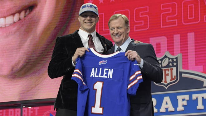 Wyoming quarterback Josh Allen is selected seventh overall by the Buffalo Bills during the NFL draft at AT&T Stadium in Arlington, Texas, on Thursday, April 26, 2018.