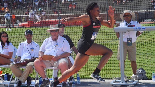 Georgia's Keturah Orji wins the SEC title in the triple jump for the fourth year in a row.