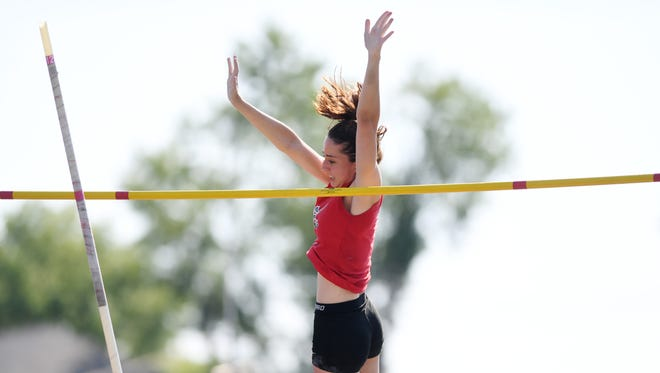 First day of State Sectional Group 1 and 4 Championships at Clifton High School on Friday, May 25, 2018. Adrianna Gobin, of Emerson, competes in the pole vault.