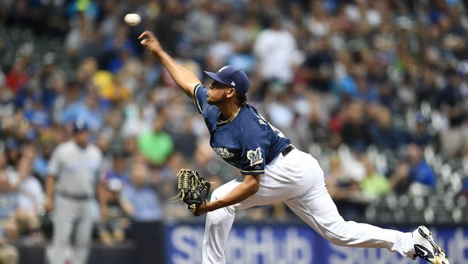 Freddy Peralta has allowed just seven hits in 22 2/3 innings for the Brewers.
