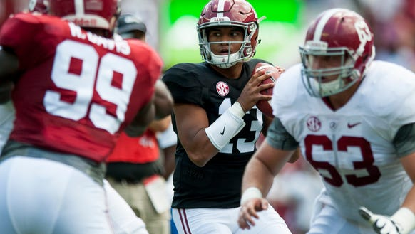 Alabama quarterback Tua Tagovailoa (13) looks to throw