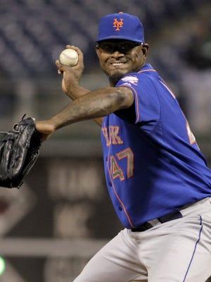 New York Mets pitcher Jose Valverde throws against the Philadelphia Phillies on April 29, 2014, in Philadelphia.