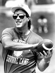 Buffalo Bills quarterback Jim Kelly at his celebrity football camp in June of 1990.
