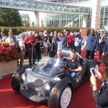 The world's first 3-D printed car makes its way down the red carpet
