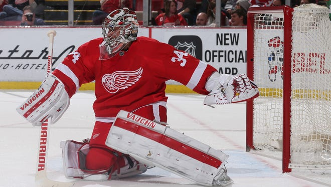 Detroit Red Wings goalie Petr Mrazek makes a save against the New York Islanders at Joe Louis Arena.