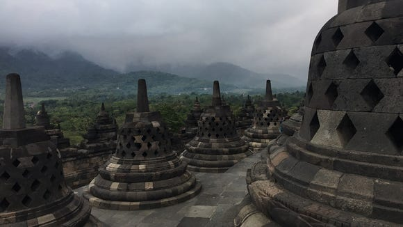 The Borobudur temple is seen on the Indonesian island
