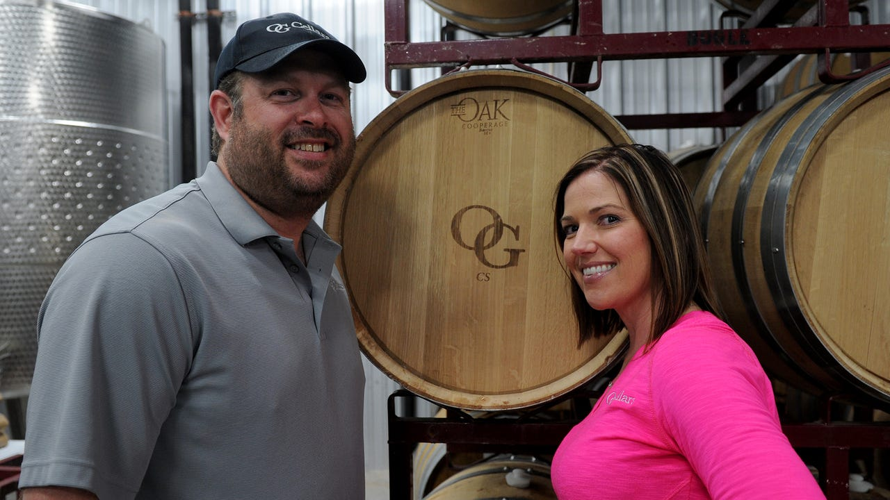 James and Sammi Hanger, whose OG Cellars was one of the 22 wineries featured at the Senior-Junior Forum's Red River Wine & Beer Festival Saturday, opened the business just four months ago.
