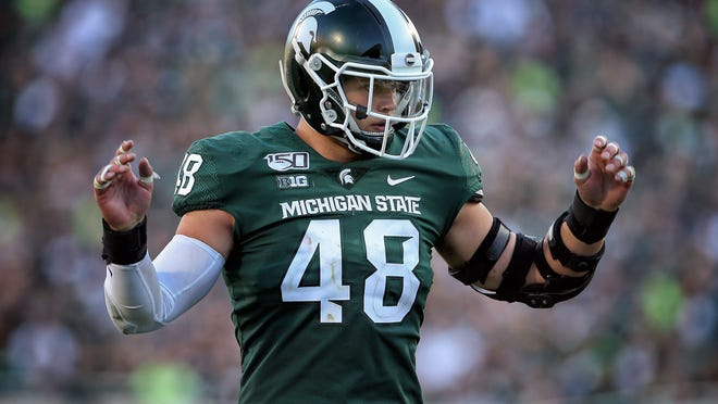 Sep 14, 2019; East Lansing, MI, USA; Michigan State Spartans defensive end Kenny Willekes gestures during the second half of a game against the Arizona State Sun Devils at Spartan Stadium. Photo Credit: Mike Carter - USA TODAY Sports