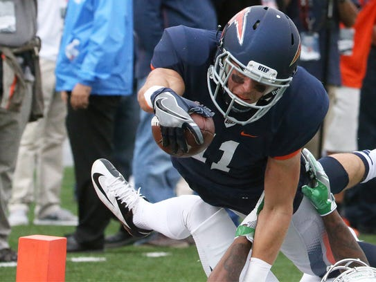 UTEP wide receiver Cole Freytag reaches into the endzone