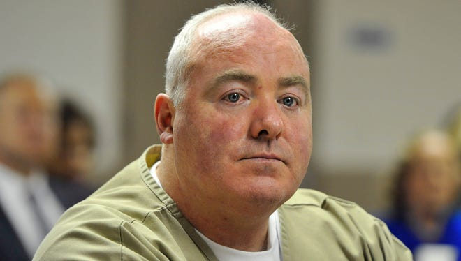 Michael Skakel listens as parole is denied during a hearing at McDougall-Walker Correctional Institution in Suffield, Conn, in 2012.