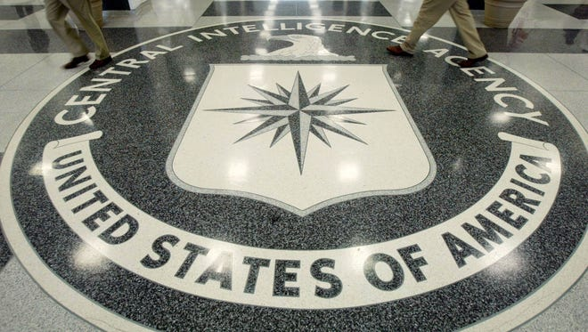 The CIA symbol is shown on the floor of CIA Headquarters on July 9, 2004, at CIA headquarters in Langley, Va.