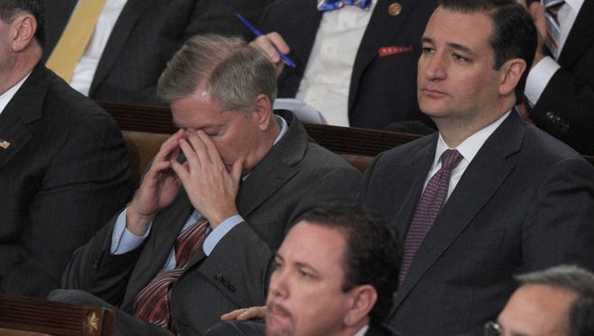 Lindsey Graham and Ted Cruz at President Obama's State of the Union address in 2014.