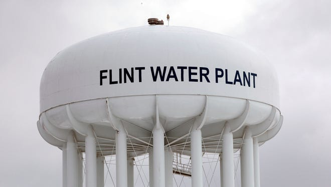 The Flint Water Plant tower is shown January 13.