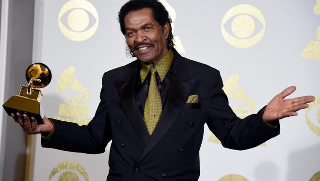 """Bobby Rush poses in the press room with his Grammy for Best Traditional Blues Album for """"Porcupine Meat"""" at the 59th annual Grammy Awards at the Staples Center in Los Angeles."""