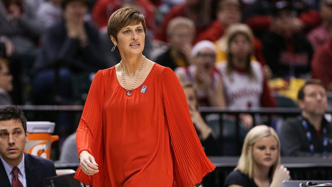 Indiana Hoosiers head coach Teri Moren watches first half action between Indiana and Purdue in the Big Ten women's basketball tournament at Banker's Life Fieldhouse, Indianapolis, Friday afternoon, March 3, 2017. Purdue came back from a 15-point halftime deficit to defeat Indiana, 66-60.