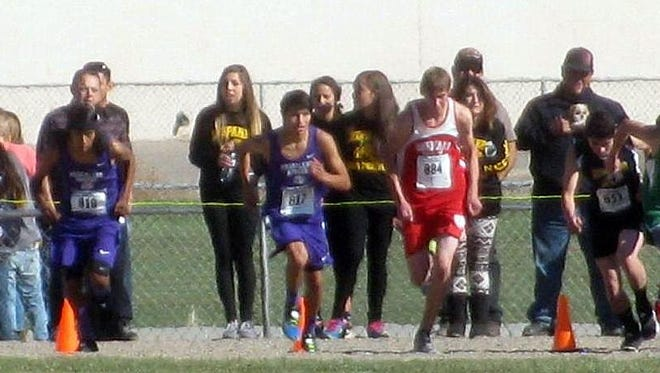 For the first time in it's history, Mescalero sends two cross country competitors to the state meet in Rio Rancho Nov. 7.  Seen here are Alex Kaydahzin and Cisco Bob III.