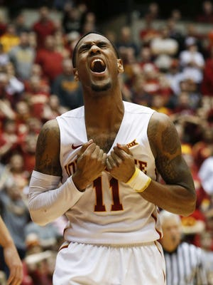 Iowa State junior guard Monte Morris shows his frustration after missing a field goal late against West Virginia on Tuesday at Hilton Coliseum. West Virginia won 81-76.