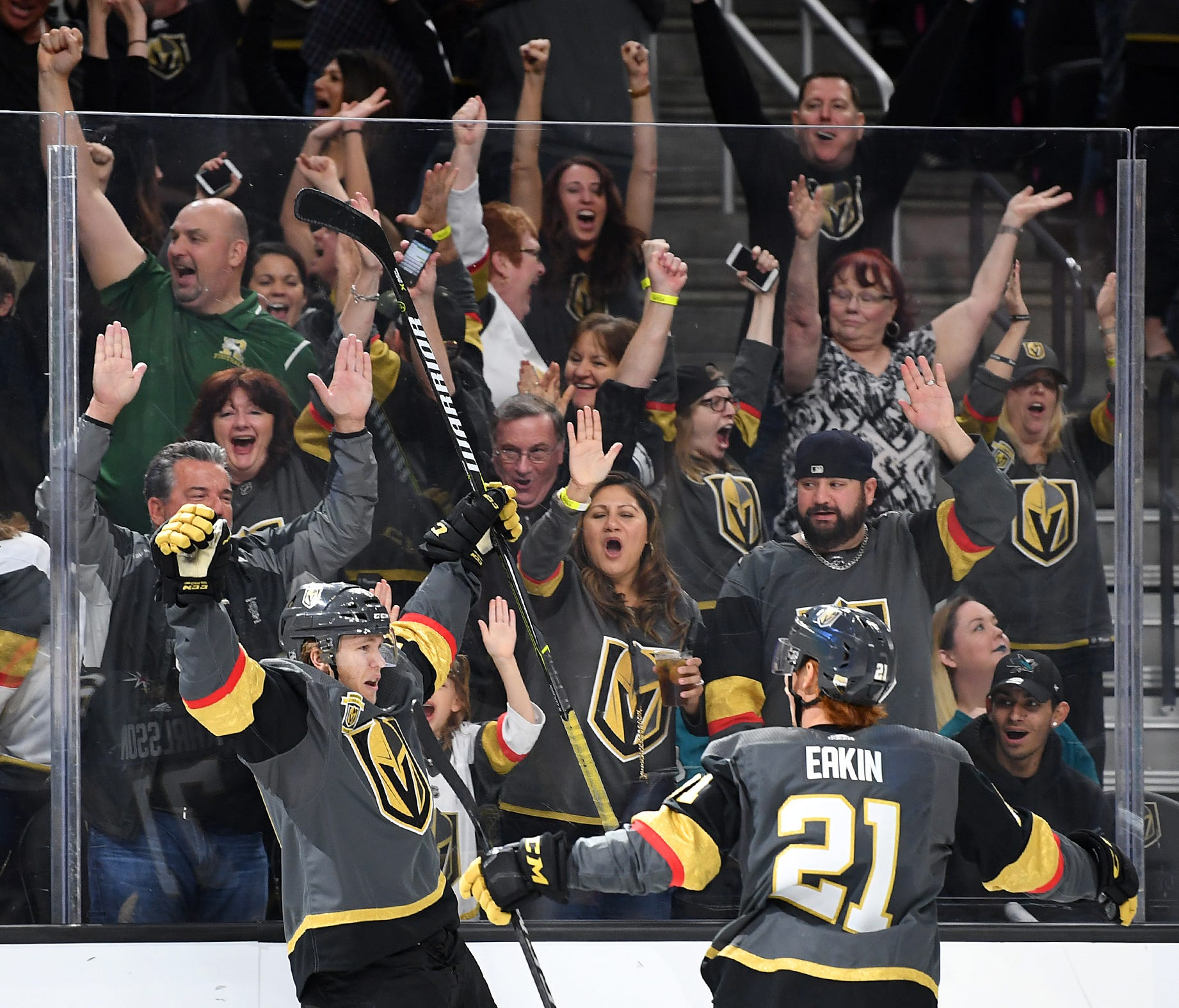 Vegas Golden Knights center William Karlsson (71) celebrates with center Cody Eakin (21) after scoring a third-period goal against the San Jose Sharks in the second round of the playoffs.
