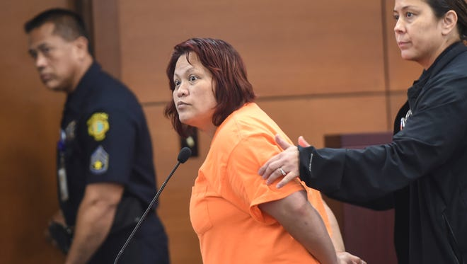 """Vera Marie Del Rosario, a Department of Public Health and Social Services employee accused of selling crystal methamphetamine, or """"ice,"""" out of her workspace, appears in the Northern Court Satellite in Dededo for a possible indictment on May 4. The hearing was rescheduled to May 11."""