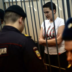 Detained Ukrainian military pilot Nadiya Savchenko, who faces murder charges, at a hearing in Moscow on Nov. 11.