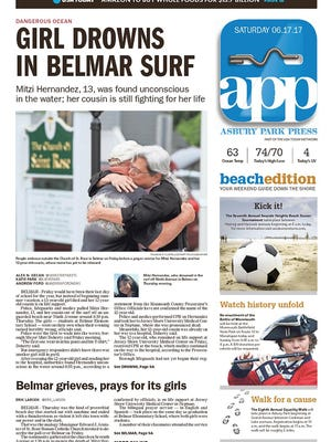 Asbury Park Press front page, Saturday, June 17, 2017