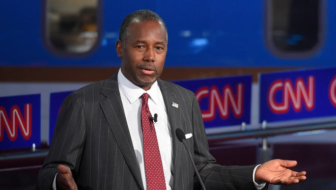 Republican presidential candidate and retired neurosurgeon Ben Carson spoke at an event Thursday in West Des Moines.