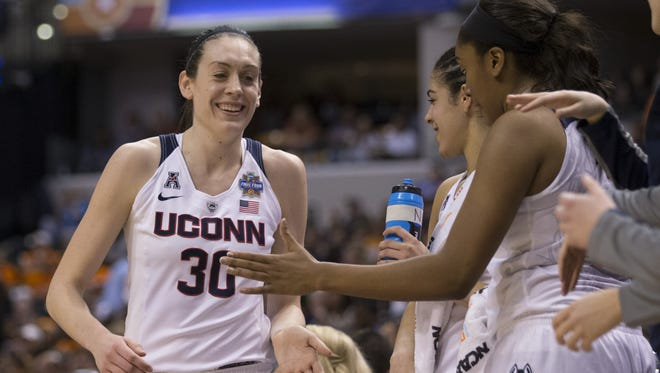 Connecticut forward Breanna Stewart (30) comes off the court near the end of action at Sunday's Women's Final Four.