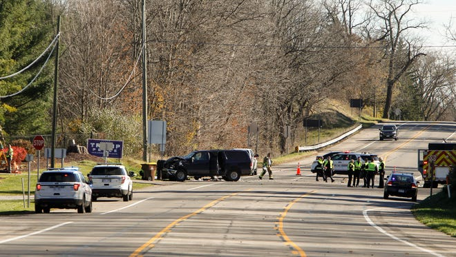 A man and  woman died Thursday in a fatal two-vehicle accident near Meridian Road South and Grand River in Williamstown Township Nov. 10, 2016.  Meridian Township Police say Grand River Avenue will be closed for about two hours as accident reconstruction teams investigate the crash.