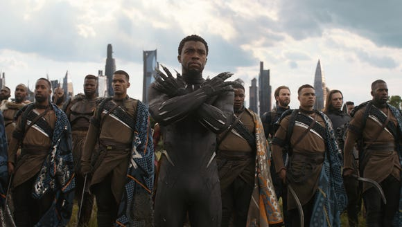 Wakanda, home of Black Panther (Chadwick Boseman, center),