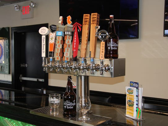 Tap handles for some of the local beers available at