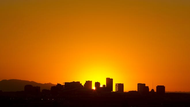 The downtown Phoenix skyline in this photo from June 2013.