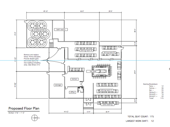 Preliminary floor plans for Blockade, a proposed restaurant