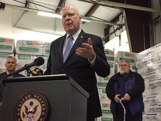 With home insulation as a backdrop, Sen. Patrick Leahy, D-Vt., speaks about how home weatherization efforts in Vermont would suffer under President Donald Trump's proposed budget on Monday in Colchester.