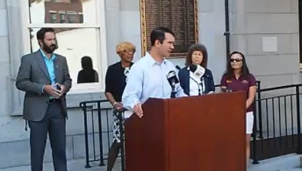 Auditor General Eugene DePasquale urges lawmakers to finish the state budget at a press conference Thursday, Aug. 17, outside the York County Administrative Center. DePasquale was joined by West York Mayor Shawn Mauck and state Rep. Carol Hill-Evans. Photo by Jason Addy.