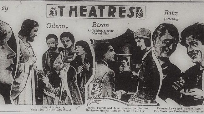 By 1930, the movie theatres were the chief form of entertainment in Shawnee. This ad from the Shawnee News on January 26, shows all the various presentations available for the citizens in the downtown district.